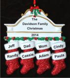 Stockings Hung with Care Family of 8 Christmas Ornament Personalized by Russell Rhodes
