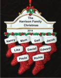 Stockings Hung with Care Family of 9 Christmas Ornament Personalized by Russell Rhodes