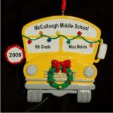 Wheels on the Bus Go Round and Round Christmas Ornament Personalized by Russell Rhodes