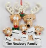 Reindeer Family of 5 Christmas Ornament Personalized by Russell Rhodes