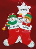 Personalized Family Christmas Ornament Festive Stockings Just the 3 Kids Personalized by Russell Rhodes