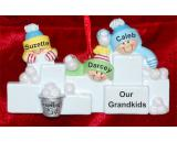 Personalized Grandparents Christmas Ornament Snowball Fun 3 Grandkids Personalized by Russell Rhodes