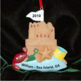 Sand Castle Christmas Ornament Personalized by Russell Rhodes