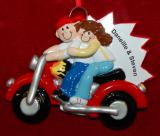 Personalized Couple Christmas Ornament Our Hog on Tour by Russell Rhodes