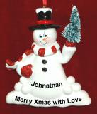 Personalized Winter Fun Snowman Christmas Ornament by Russell Rhodes
