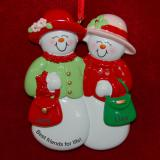 Personalized Friendship Christmas Ornament Snowy Besties by Russell Rhodes