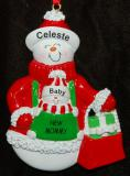 Personalized New Mom Christmas Ornament Snow Close Together by Russell Rhodes