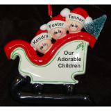 Personalized Family Christmas Ornament Sleigh Just the Kids 3 by Russell Rhodes