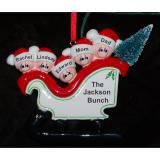 Personalized Family Christmas Ornament Sleigh for 5 by Russell Rhodes