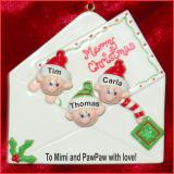 Personalized Grandparents Christmas Ornament Greetings 3 Grandkids by Russell Rhodes