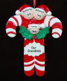 Personalized Grandparents Christmas Ornament Candy 3 Grandkids by Russell Rhodes
