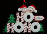 Personalized Grandparents Christmas Ornament Ho Ho Ho 2 Grandkids by Russell Rhodes