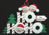 Personalized Family Christmas Ornament Ho Ho Ho Just the Kids 3 by Russell Rhodes