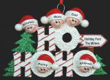 Personalized Family Christmas Ornament Ho Ho Ho for 5 by Russell Rhodes