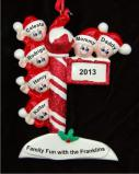 Christmas Pole for Family of 6 Christmas Ornament Personalized by Russell Rhodes