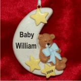 Baby Sweet Sleep on the Moon Blue Christmas Ornament Personalized by Russell Rhodes