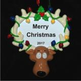 Reindeer Lights Christmas Ornament Personalized by Russell Rhodes