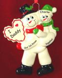 Personalized Single Dad Christmas Ornament 1st Xmas Together 1 Child by Russell Rhodes