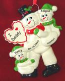 Personalized Single Dad Christmas Ornament 1st Xmas Together 2 Kids by Russell Rhodes