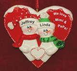Personalized Grandparents Christmas Ornament 2 Grandkids Loving Heart by Russell Rhodes