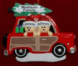 Personalized Couple Christmas Ornament Woody for 2 by Russell Rhodes