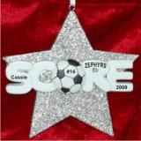 Soccer Super Star Christmas Ornament Personalized by Russell Rhodes