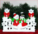 Personalized Family Tabletop Christmas Decoration Snowflakes Family of 8 by Russell Rhodes