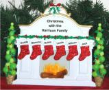 White Mantel Family of 6 Tabletop Christmas Decoration Personalized by Russell Rhodes