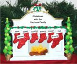 White Mantel Family of 8 Tabletop Christmas Decoration Personalized by Russell Rhodes