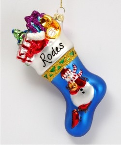 Family Collection Snowman Stocking Glass