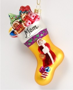 Family Collection Mrs. Claus Stocking Glass