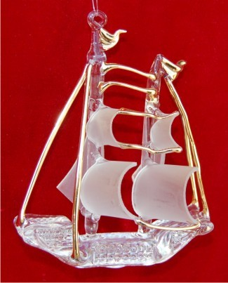 Blown & Spun Glass Sailing Ship
