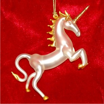 Unicorn with Gold Blown Glass