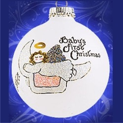 Girl Baby's First Christmas Cradled by the Moon Glass