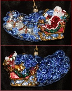 Polish Blown Glass Santa's Sleigh and Reindeer