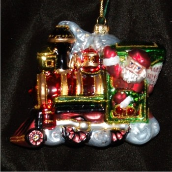 Polish Blown Glass Santa Train