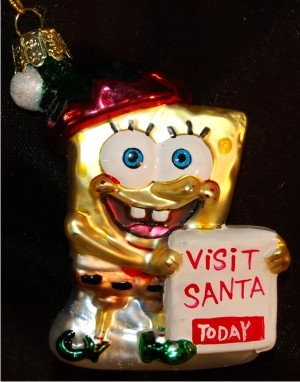 Santa's Helper Sponge Bob Glass