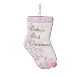 Sturdy-fire Porcelain Pink Baby's First Christmas Stocking