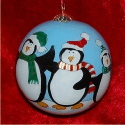 Penguin Family of 5 Glass Ball