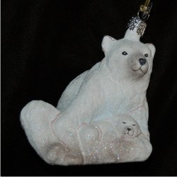 Polar Bear with Baby Bear Cub Glass