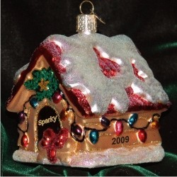 Beautifully Lit Holiday Dog House Glass