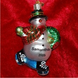 Skating Snowman Blown Glass