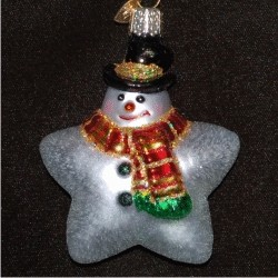 Star Snowman Blown Glass