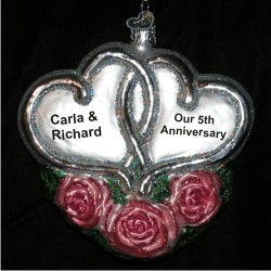 Loving Hearts Pink Roses Glass