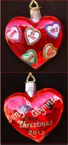 Be Mine Candy Hearts!  Engaged Heart Glass
