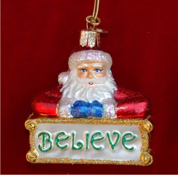 Believe Santa Glass