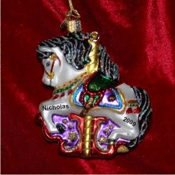 Black Mane Carousel Horse Glass