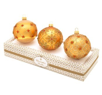 Radko Mandarin Red & Gold Glass Balls Set of 3