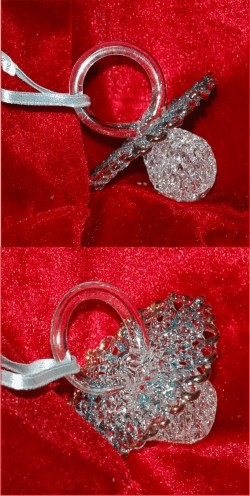 Filligree Woven Glass Baby Pacifier Blue