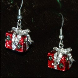 Christmas Earrings - Holiday Red Gift Box